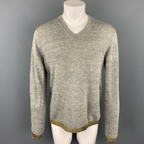COMME des GARCONS SHIRT Size M Grey & Gold Knitted Linen V-Neck Pullover