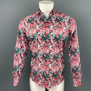 TWEEN Jeonce Size XS Red & Green Floral Cotton Slim Fit Long Sleeve Shirt