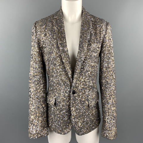 ZADIG & VOLTAIRE DELUXE Size S Silver & Gold Sequin Snap Blazer