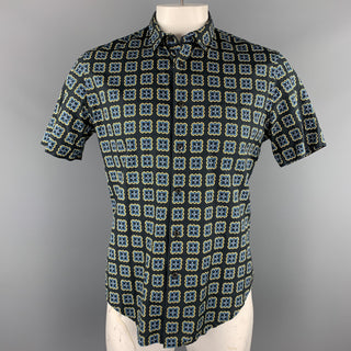 PRADA Size L Black Print Cotton Button Up Short Sleeve Shirt