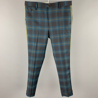 PAUL SMITH Size 30 Green & Blue Plaid Wool Zip Fly Dress Pants