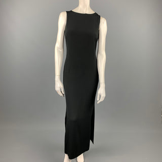 APOSTROPHE Size 6 Black Crepe Acetate / Viscose Column Cocktail Dress