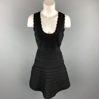 HERVE LEGER Size M Black Rayon / Spandex Cocktail Dress