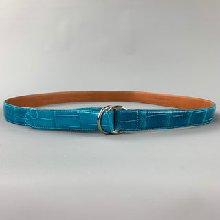 RALPH LAUREN Waist Size M Turquoise Alligator Double Ring Belt