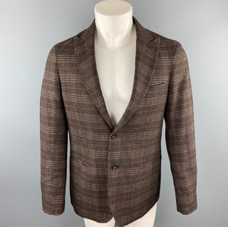 EREDI PISANO Size 40 Brown Plaid Peak Lapel Sport Coat