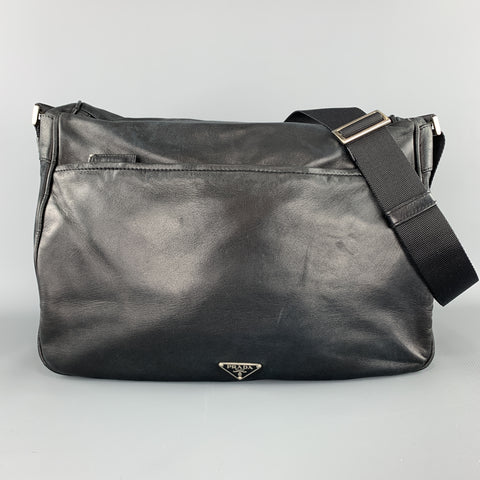 PRADA Black Leather Enamel Logo Crossbody Messenger Bag