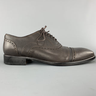 JOHN VARVATOS Size 11 Brown Textured Leather Cap Toe Lace Up