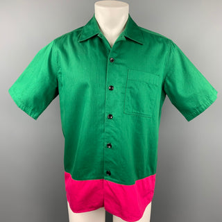 AMI by ALEXANDRE MATTIUSSI Size M Green & Pink Color Block Cotton Short Sleeve Shirt