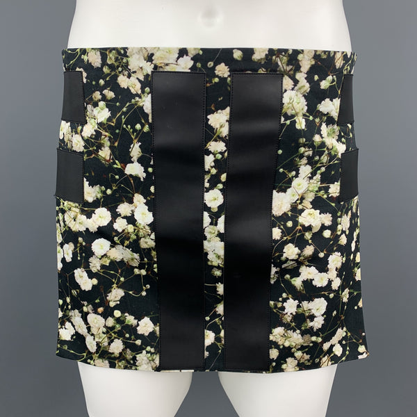 GIVENCHY Spring 2015 Size M Black Floral Cotton Apron Skirt