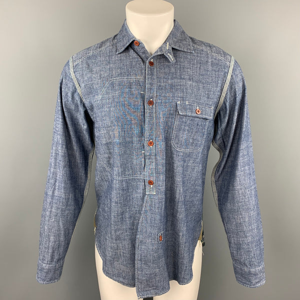 JUNYA WATANABE Size L Blue & Green Patchwork Chambray Long Sleeve Shirt