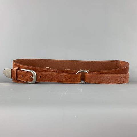 OSCAR DE LA RENTA Size M Tan Leather Silver Buckle Wrap Belt