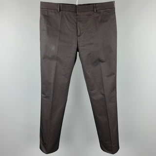 DIOR Size 34 Black Cotton Zip Fly Dress Pants