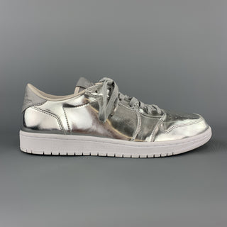 NIKE Size 11.5 Silver Metallic Leather Lace Up AIR JORDAN Low Top Sneakers