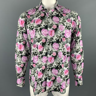 TED BAKER Size XL Black & Pink Floral Cotton Button Up Long Sleeve Shirt