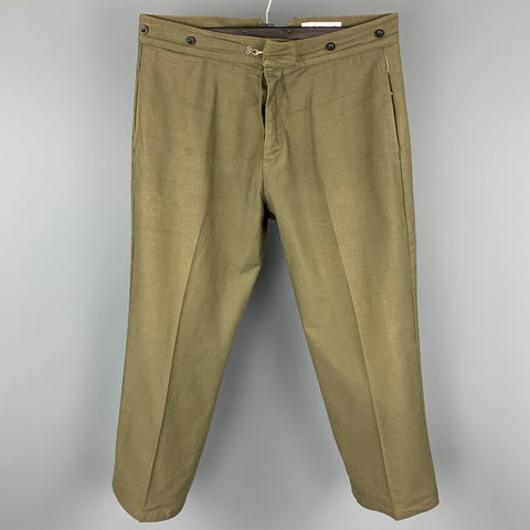 LOEWE Size 38 Olive Cotton Button Fly Back Belt Casual Pants