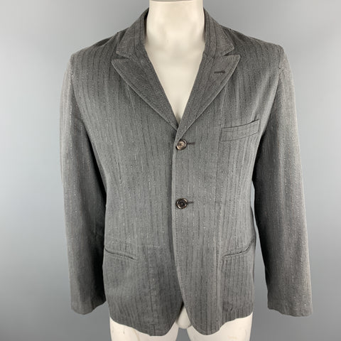 ANN DEMEULEMEESTER Size XL Grey Stripe Cotton Blend Peak Lapel Jacket