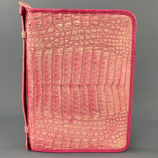 CARLOS FALCHI Pink Embossed Leather iPad Case