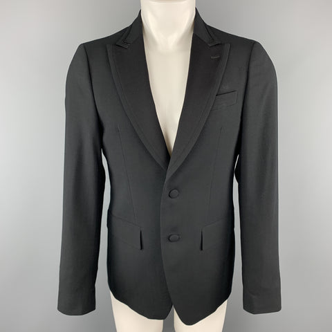 MARIO MATTEO Size 38 Black Wool Peak Lapel Sport Button Cuff Coat