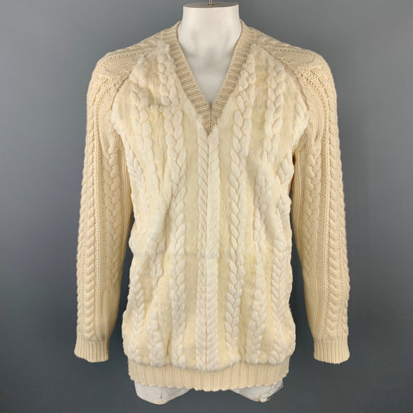 BURBERRY PRORSUM F/W 2011 Size XL Cream Wool / Cashmere Fur V-neck Pullover Sweater