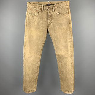 RRL by RALPH LAUREN Size 30 Khaki Washed Distressed Denim Button Fly Jeans