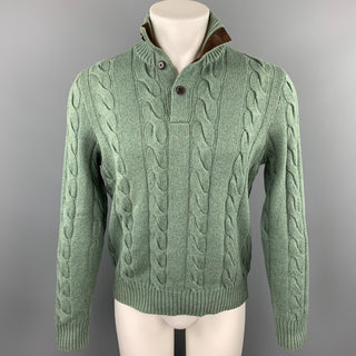 POLO by RALPH LAUREN Size S Olive Cable Knit Silk / Cashmere Mock Turtleneck Sweater
