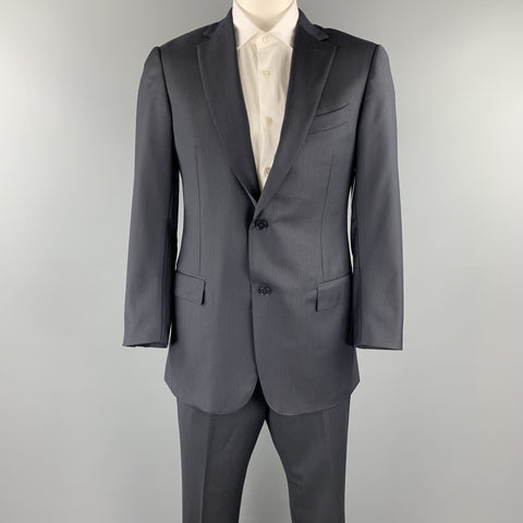 ERMENEGILDO ZEGNA 42 Long Navy & Black Pinstripe Wool Notch Lapel Suit