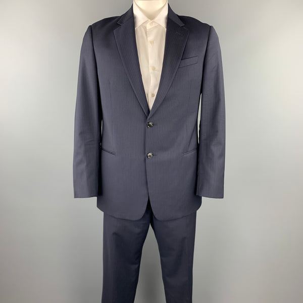 ARMANI COLLEZIONI Size 42 Regular Navy Pinstripe Wool Notch Lapel Suit