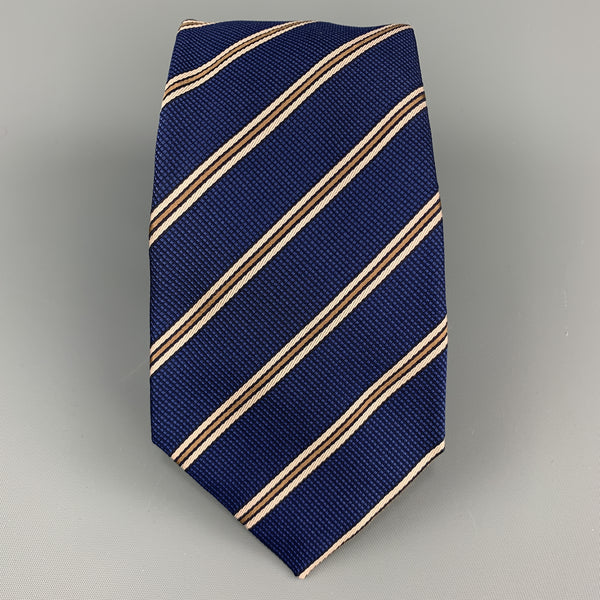 LUIGI BORRELLI Navy & Beige Striped Silk Tie