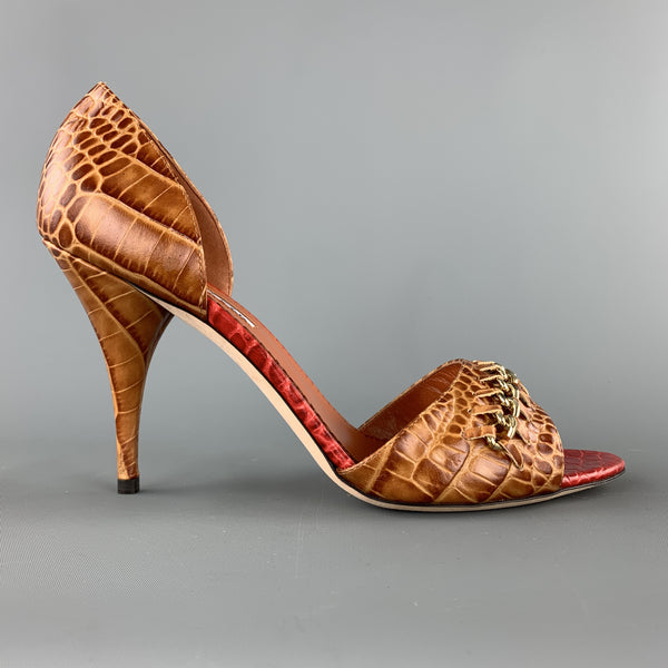 OSCAR DE LA RENTA Size 10 Brown Alligator Embossed Leather Chain Strap D'orsay Pumps