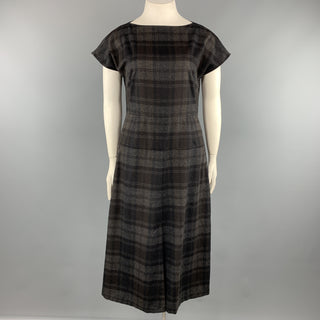 AKRIS Size 10 Grey Plaid Wool / Angora Cap Sleeve Shift Dress