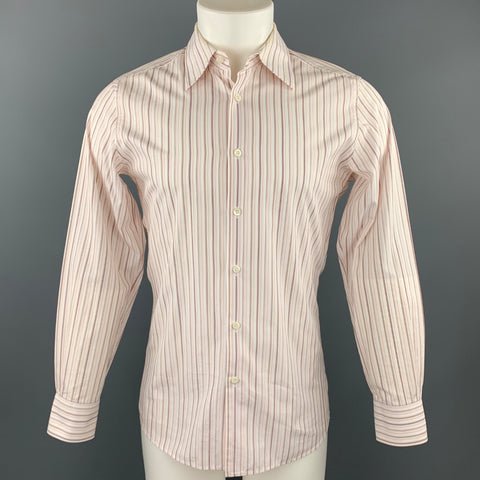 PRADA Size M White Stripe Cotton Button Up Long Sleeve Shirt
