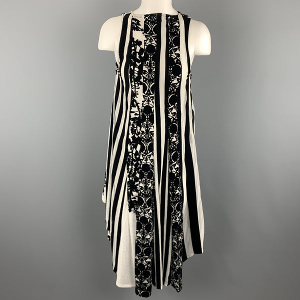 ANN DEMEULEMEESTER Size 4 Black & White Floral Mesh Stripe High Low Dress