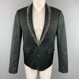 DSQUARED2 Size 38 Black Cotton / Elastane Shawl Collar Safety Pin Sport Coat