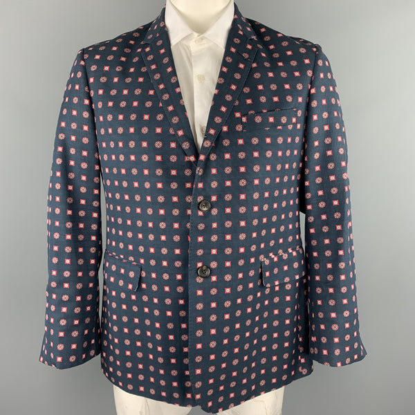 BLACK FLEECE Navy Print Cotton / Viscose Notch Lapel Sport Coat