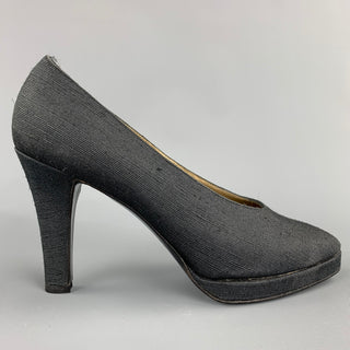 YVES SAINT LAURENT Size 7 Black Textured Fabric Platform Pumps