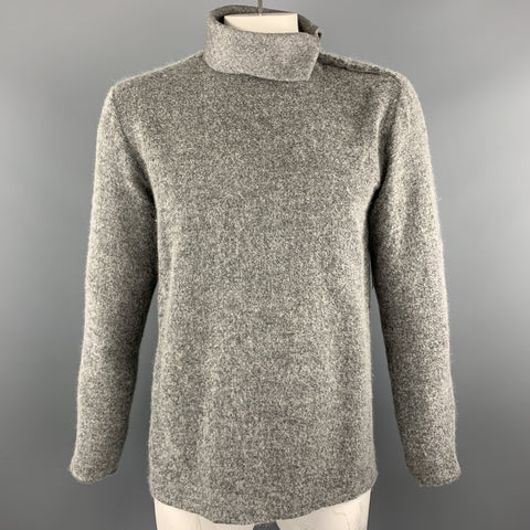 STONE Size L Gray Textured Wool Turtleneck Side Snaps Pullover Sweater