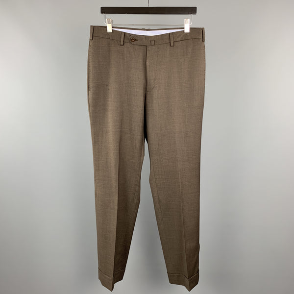 INCOTEX Size 32 Brown Wool Front Tab Cuffed Dress Pants