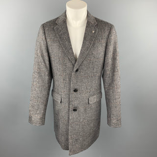 MAISON MARGIELA Size L Grey & Black Glenplaid Wool Notch Lapel Coat