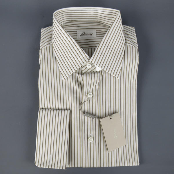 New BRIONI Size M White & Brown Striped Cotton Long Sleeve Shirt