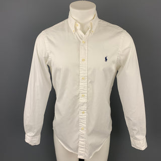 RALPH LAUREN Size S White Cotton Button Down Long Sleeve Shirt