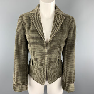 AKRIS Size 10 Taupe Corduroy Jacket Hook Eye Blazer
