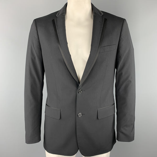JOHN VARVATOS * U.S.A. Size 40 Black Solid Regular Wool Sport Coat