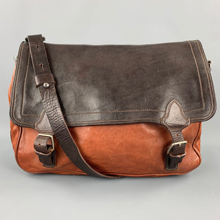 DRIES VAN NOTEN Brown Leather Rectangle Messenger Bag