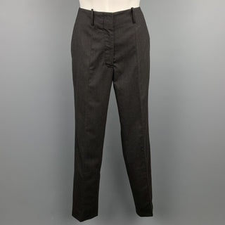 JIL SANDER Size 0 Charcoal Virgin Wool Straight Leg Dress Pants