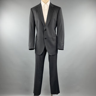 DOLCE & GABBANA Size 44 Regular Charcoal Stripe Wool Notch Lapel Suit