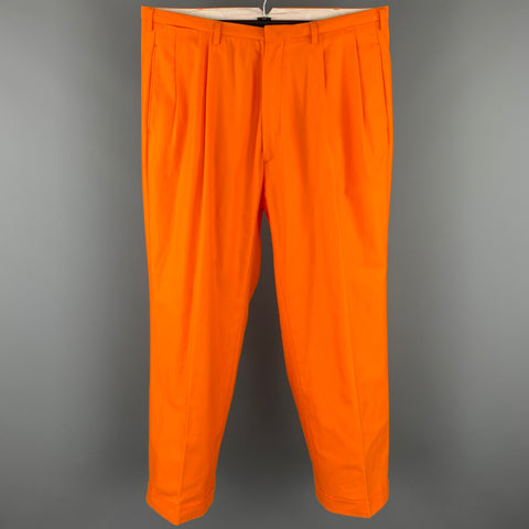 WALTER VAN BEIRENDONCK Size 36 Orange Cotton Cuffed Pleated 2003 Dream Trouser Pants
