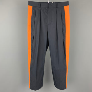 VALENTINO Size 30 Navy & Orange Color Block Cotton Pleated Dress Pants