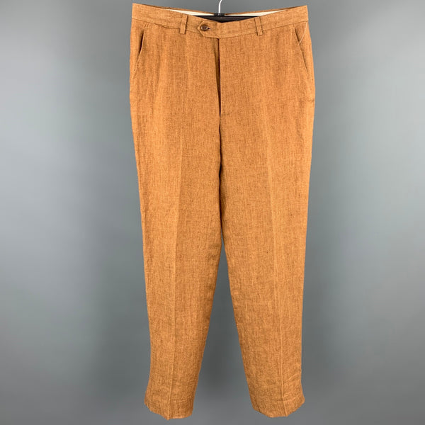 VINTAGE Size 32 Tan Linen Zip Fly Casual Pants