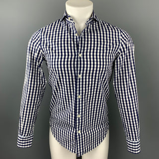 GUY ROVER Size XS Navy & White Checkered Cotton Button Up Long Sleeve Shirt