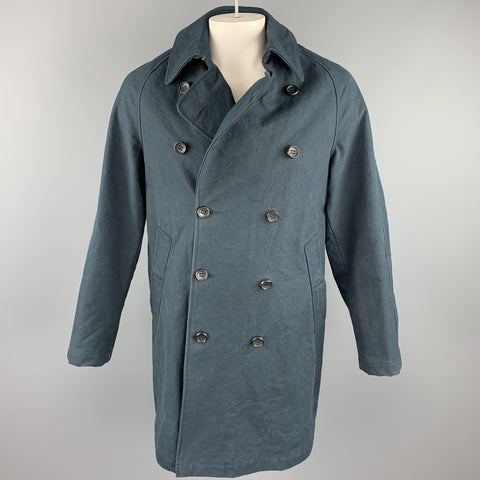 ADAM KIMMEL Size L Navy Cotton Double Breasted Hook & Eye Coat